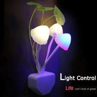 Free Shipping Romantic Mini Lovely LED Light Control Cute Color Changing Mushroom Bedside Night Light Energy Saving Lamp Sensor