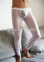 Sleep Bottoms Sleepwear men pants fashion sexy translucent viscose body shaping trousers legging tight