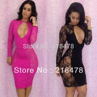 Free shipping Lace Floral designs Dresses New fashion 2014 bandage dress black bodycon dress sexy women dresses S,M ,L 5543