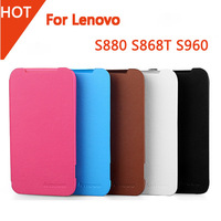 Free Shipping good Quality 100% Original Lenovo S880 S920 S960 ultra thin Flip Leather Case Back shell cover