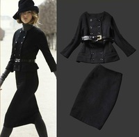 2013 autumn and winter women runway fashion double breasted short jacket woolen skirt suits