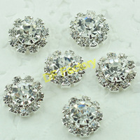 round silver buttons flat back  crystal buttons embellishments for hair accessories (20 pcs/lot