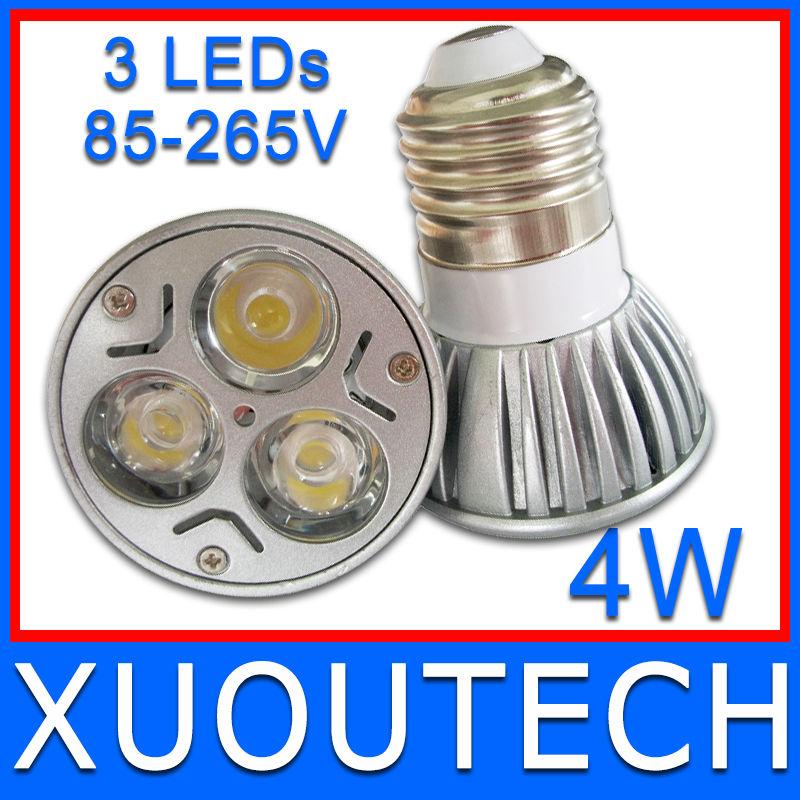 FREE Shipping 2 Pieces/Lot 3X1W 4W LED Spotlight E27 AC110V AC220V Warm Cold White Led Lamp CE RoHS approval(China (Mainland))