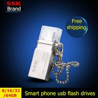 Ssk White OTG Smart phone usb flash drives pen drive 100%  64GB 32GB 16GB 8GB usb flash drive double plug MINI Metal Waterproof