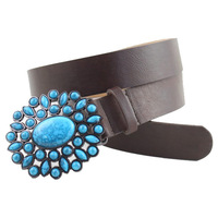 Women's Blue Stone Vintage Belts Country Belt Metal Buckles With Turquoise Luxury Belts For Women