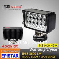 Free Shipping 4pcs 45W LED Work Light 12V 24V IP67 Flood Or Spot beam For 4WD 4x4 Off road Light TRUCK BOAT TRAIN BUS