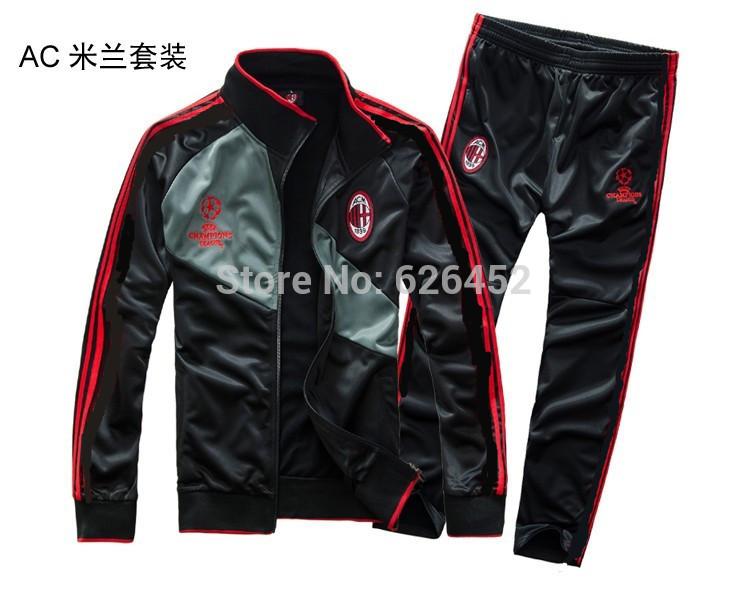 Livraison gratuite Top N98 2015 AC Milan ligue des Champions Thai version de Football de qualité manteau veste de Football et de formation pantalons(China (Mainland))