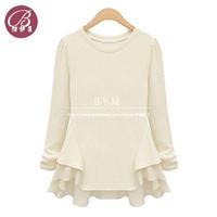 High Quality shirt rock Brand 2014 European Style Big Wave Stitching Chiffon Long sleeve Tee Shirt Women Blouses Free shipping