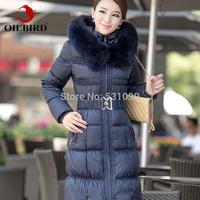 Brand Oilbird 2014  thickening luxury fox fur collar women's extra long white duck down coat/jakets women free shipping