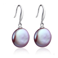 925 Sterling Silver Hooks&Button Pearl Natural Freshwater Cultured Pearl Drop Earrings Charming Purple Unice Free Shipping
