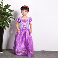 7-8age Girls Dresses Snow White Princess Costumes Cosplay Purple Performance Halloween Dress Girls Holiday Dress