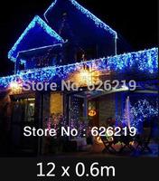 12m *0.6m Led icicle string light 220V EUplug  Led curtain Christmas/Xmas lights for pavilion eave  outdoor decoration