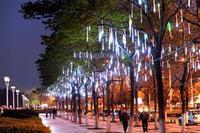 2PCS/LOT 50CM Romantic Meteor Shower Rain Tube LED Christmas Wedding Garden Decoration String Light 100-240V/EU White B16 TK1325
