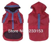 Free Shipping Large Dog Rainproof Clothes Waterproof Hooded Jacket Large Dog Poncho Vest Rain Coat Dog Outerwear with Stripe