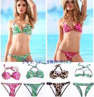 2014 Bikini Swimwear  push up print flower sexy lady style Sexy Fashion Pretty Swimsuit blue!