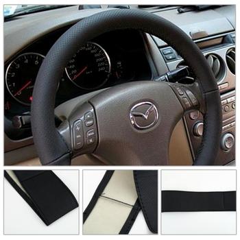 1 шт. черный DIY автомобиля руль обложка с иголок и ниток искусственная кожа по всему миру магазин