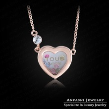 Multicolour Heart Necklace Real 18K Rose Gold Plated Love Heart Necklace Genuine SWA Stellux Austrian Crystal Women Necklace