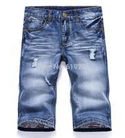 100% Excellent! Designer Jeans Shorts Men Famous Brand 2014 Summer New Arrival Straight Cotton Denim Short Jeans Plus Size 38