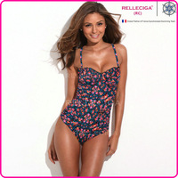 RELLECIGA 2014 New Bikini Swimwear Bathing Suit Black Floral Ruffles and Side Ruching One-piece Swimsuit Digital Printing