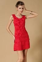 wholesale causal dress lace 2014 new fashion rhinestones evening dress vestido de renda elegant summer dress for women BY7145ES