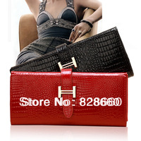 2014 New Fashion Genuine leather cowhide wallets for female long design wallet