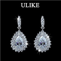 New Pear cut Swiss Cubic Zirconia Diamond with micro CZ Surround Wedding Earrings (Umode UE0035)