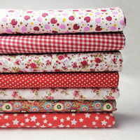 7pcs 50cm*50cm Red Floral Polka Strawberry Check Star Assorted 100% Cotton Quilting Cloth, Patchwork Fabric for Tilda Sewing