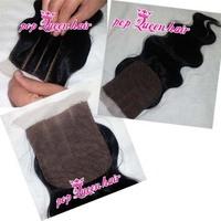 3 Way part silk base closure 4''x4'',body wave virgin brazilian hair lace top closure unprocessed hair swiss lace bleached knots