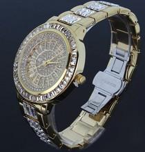 High Quality Japan Myota 2035 Full Rhinestones Watch Women Luxury Platinum Plated Round Shape Water Resistant