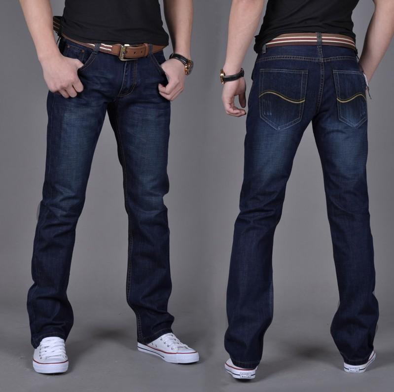 Nouveau mode hommes jeans occasionnels 2014 classic straight pantalons pour hommes de marque jeans denim pantalon taille plus 28~38 #8307 livraison gratuite