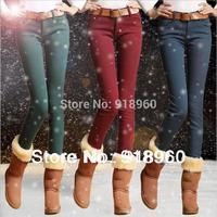 new sale winter Pants women's thick Jeans/warm fleece pants pencil candy colored pants skinny legging pants/S~XXL/wOL