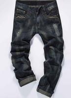 2014 Size28-38 Men's Dark Blue Stripe Slim Fit Denim Pants Classic Casual Straight Trousers Mens Fashion Doodle Jeans