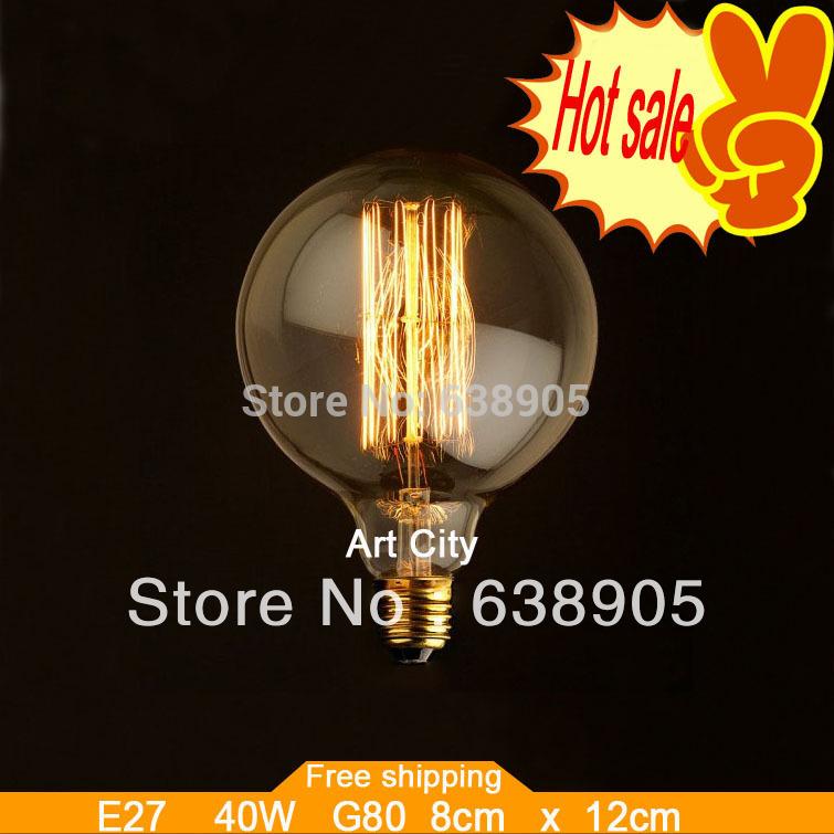 Brandneue carbon klassischen kunst glühbirne retro edison-lampe g80 e27 220v halogenlampen, versandkostenfrei