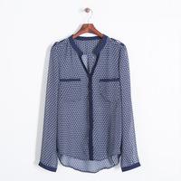 Women Fashion Geometric Pattern Chiffon Pockets Shirts Ladies Casual V-neck Long Sleeves Blouse 7108106202
