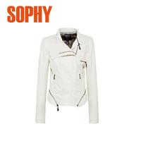 Женская одежда из кожи и замши Spring Women Leather Jacket Motorcycle Jacket Female Short Slim Beige Coat