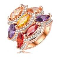 New Arrival Unique Design Multicolor Zircon Austrian Crystal Genuine 18K Rose Gold Plate Engagement Rings Wedding Jewelry RIN182