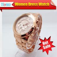 2014 Rhinestone Rose Gold Casual Luxury Women Dress Watches Full Steel Bracelet Mens Quartz Famous Brand Clock  Hot Sale