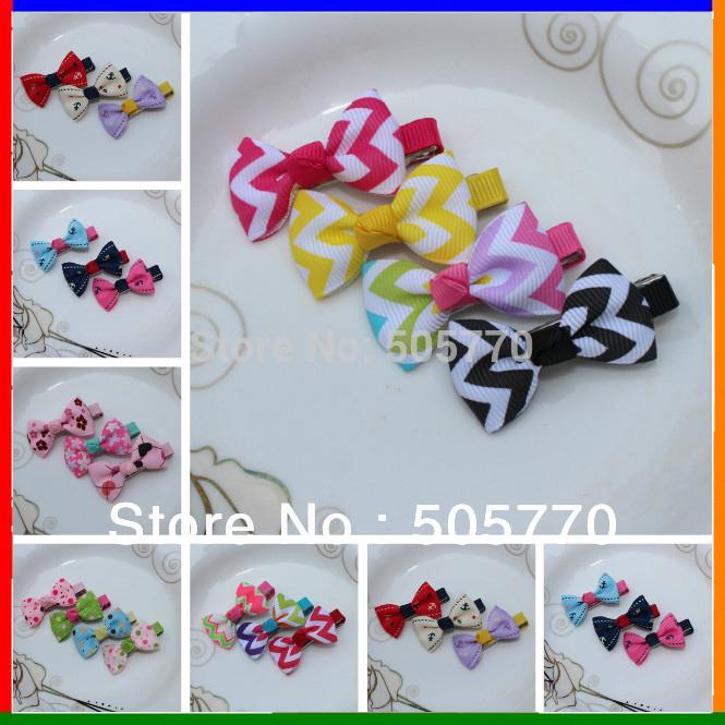 20colors Rainbow Hair MINI clips Ribbon Hair Bows Sculpture Hair Clippie fashion children accessory(China (Mainland))