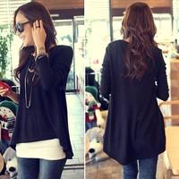 Korean Women Clothes Cotton Tops Irregular T-shirt Batwing Long Sleeve Shirt Valentine's Day B16 18476