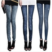 1pcs Women Fashion leggings,8 styles faux denim jeans looks ladies' skinny leggings pencil pants slim elastic stretchy jegging