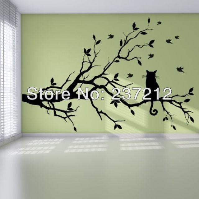 Free Shipping PVC Cat Branch Birds Tree Modern Pretty Bedroom Wall Sticker Art Design Mural / wall stickers(China (Mainland))