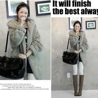 Black/Gray/Coffee New Fashion Women Down Hooded Hoodie Warm Outerwear Cardigan Jacket Coat 3500 F