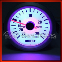 "52mm 2"" Blue LED White Face Turbo Boost Gauge Meter 30 IN. HG / 30 PSI"