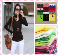 2013 winter hot new Korean Women Slim milk silk V-neck long-sleeved T-shirt Women primer shirt small shirt plus velvet