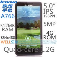 "Original Lenovo A766 Multi language Mobile phone 5""IPS 854x480 MTK6589 Quadcore1.2G 512MBRAM 4GROM  Android4.2 5MP"