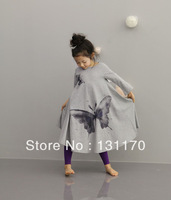Retail 2014 New girl dress, princess, long sleeve design, butterfly printing, gray, 100% cotton, autumn/spring,Free Shipping
