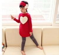 New 2014 love sign baby kids girls clothing set ( headband + coats + pants ) children outerwear clothes casual children Dress