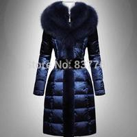2013 Europe new fashion winter slim plus size high quality brand fox fur coat medium-long women down jacket free shipping