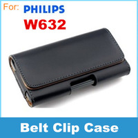 Leather Case Belt Clip Pouch For Philips W632 For leather case