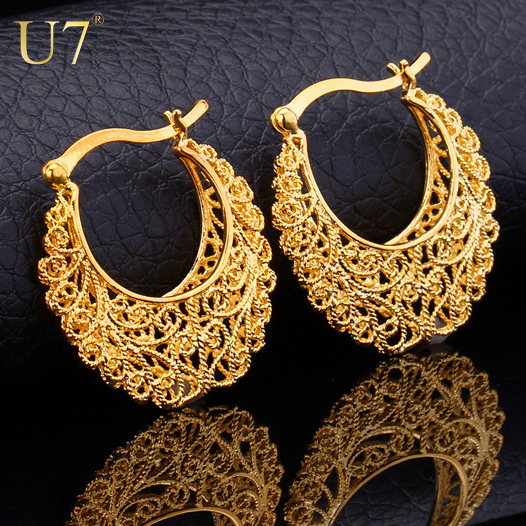 Vintage Earrings Platinum/18K Real Gold Plated Women Gift Sale Fashion Jewelry Basketball Wives Round Fancy Hoop Earrings E360(China (Mainland))